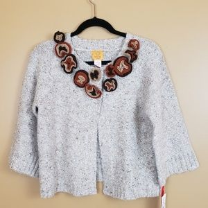 Ruby Rd. LP 1 button cardigan w/ knitted flowers